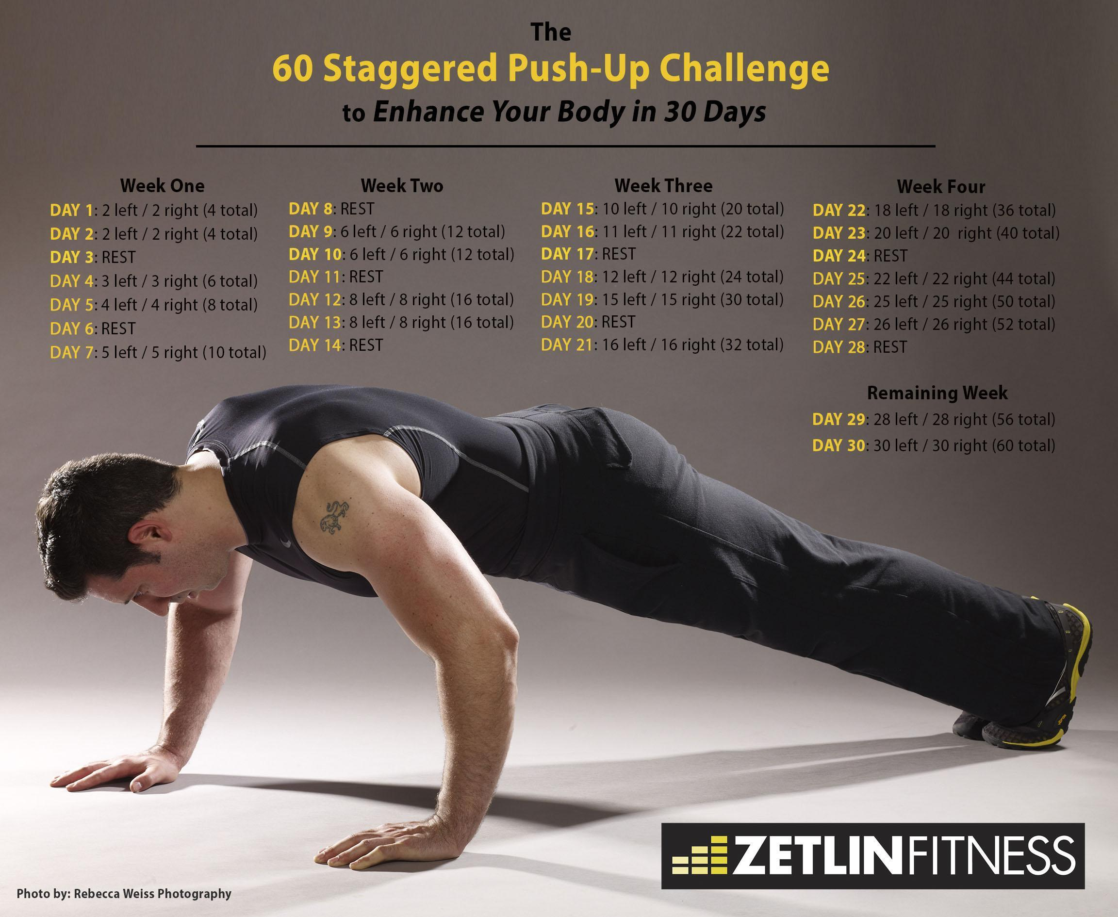The 60 Staggered Push-up Challenge to Enhance Your Body in